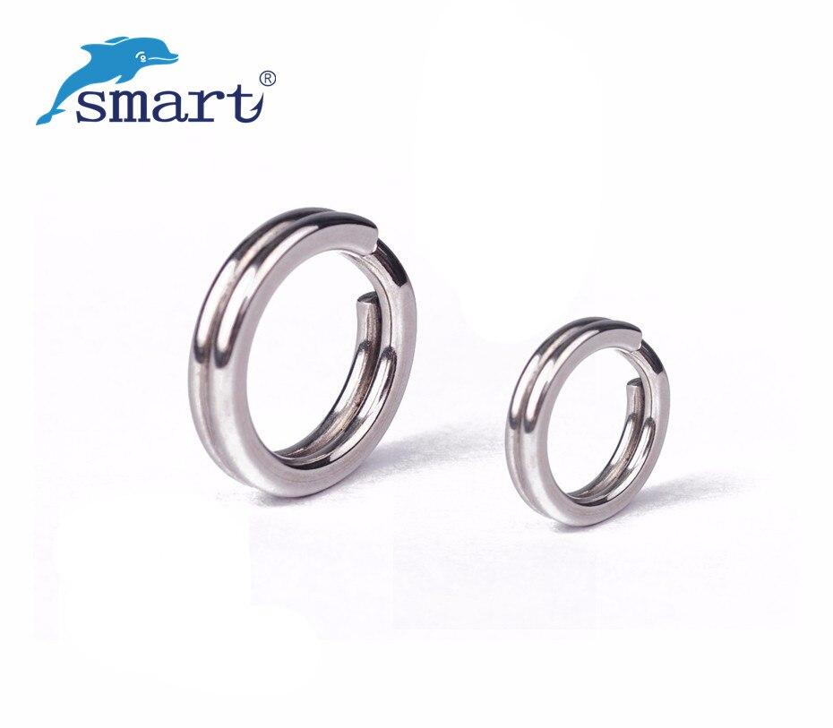 SMART 100 Uds anillos divididos de acero inoxidable anillo conector de 7 tamaños para señuelo cebo bajo señuelo Walleye señuelo Pesca accesorios de Pesca