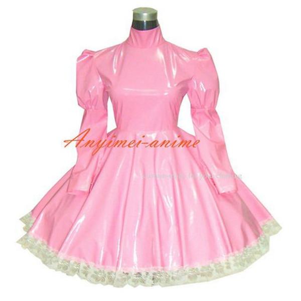 Sissy femme de chambre gothique lolita punk rose PVC robe cosplay costume sur mesure [G270]
