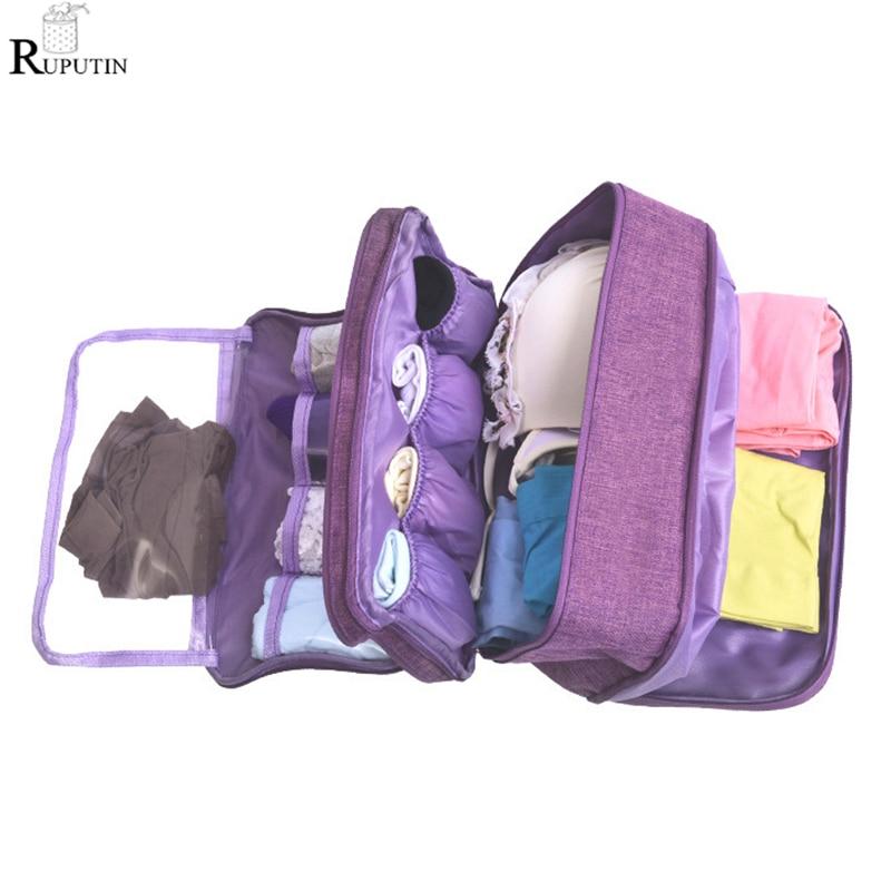 RUPUTIN Women Underwear Bag Portable Travel Organizer Clothes Storage Bag Large Capacity Trip Bra Sock Sorting Makeup Wash Bags