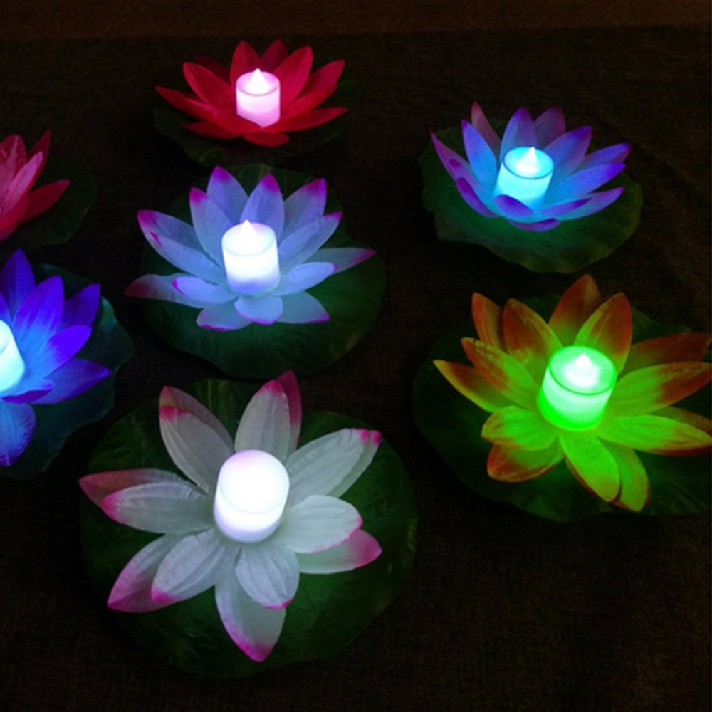 ICOCO LED Artificial Lotus Colorful Changed Floating Flower Lamps Water Swimming Pool Wishing Light
