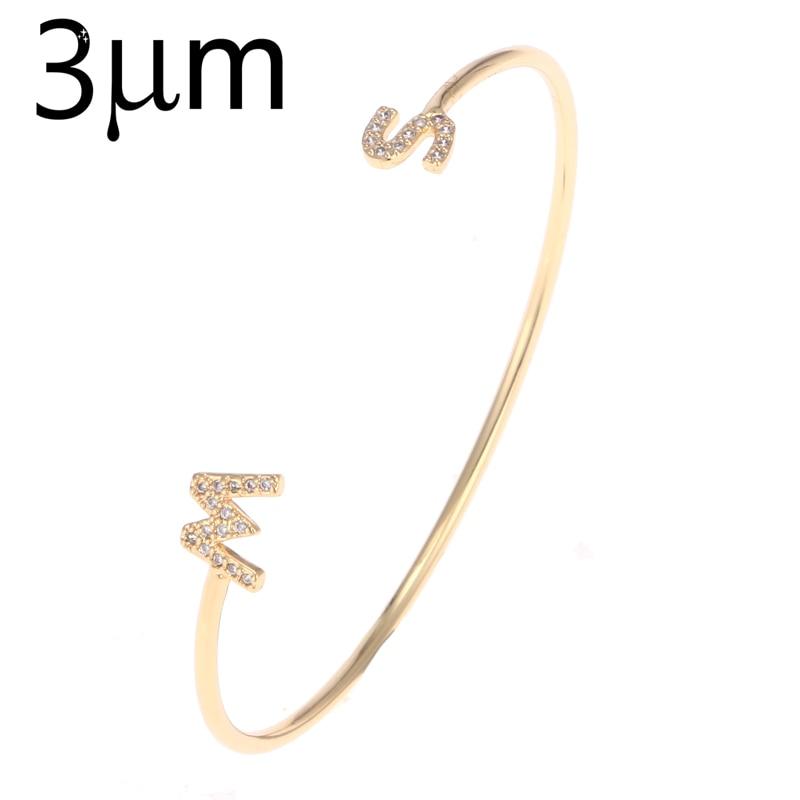 Brazaletes y pulseras con letras de Zirconia 3UM, montura personalizada con el nombre de la inicial, brazalete personalizado para mujeres, brazaletes únicos