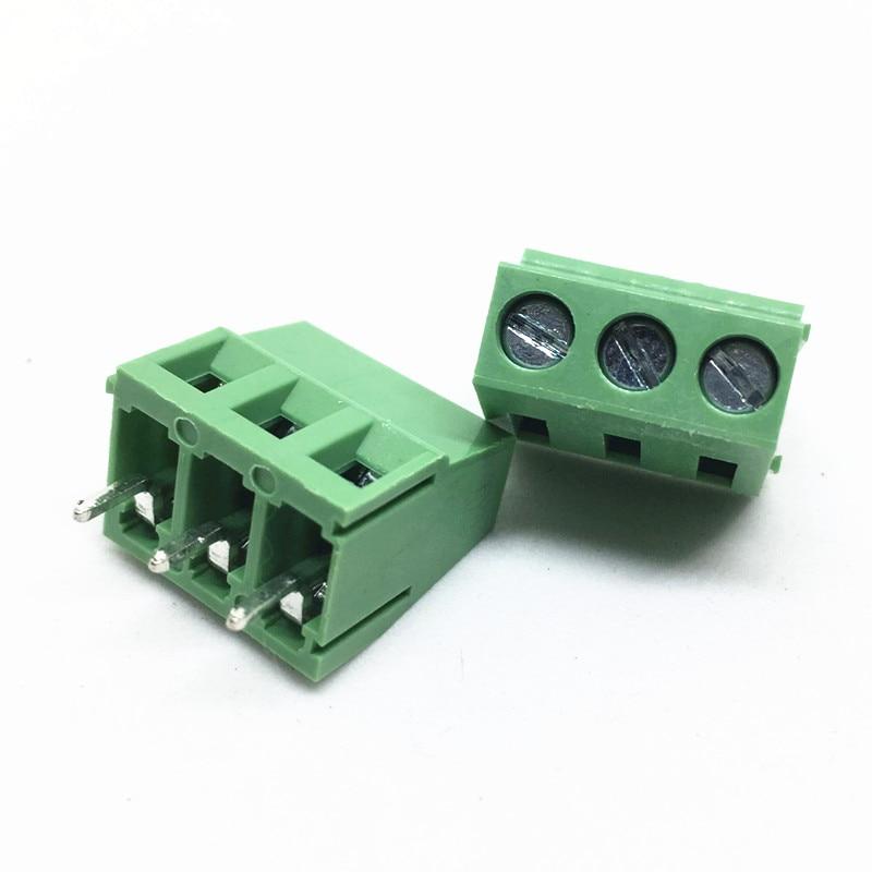500 قطعة/الوحدة PCB المسمار محطة كتلة موصل KF128-3P الملعب: 5.0 مللي متر/0.2 بوصة الأخضر KF128-5.0 3 دبابيس اتصال محطة كتلة