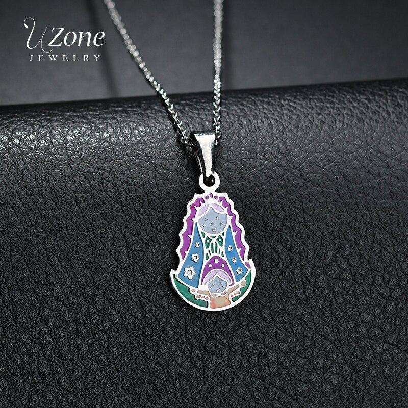 UZone, collar con colgante de titanio de acero colorido para la familia, gargantilla de corazón con flor de madre Ángel niña para mujer, brazalete de mujer