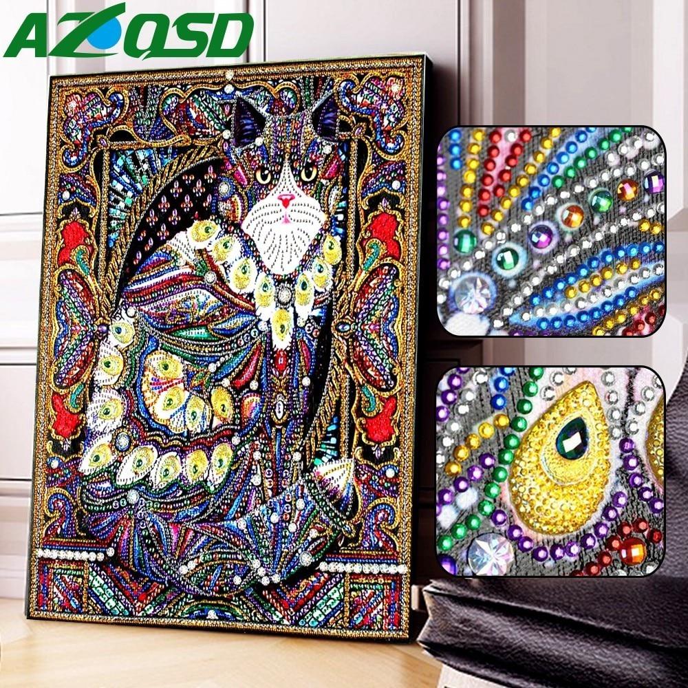 AZQSD Diamond Painting Cat Needlework Diamond Embroidery Animal Home Decor Partial Round Drill Special Shaped 5D DIY