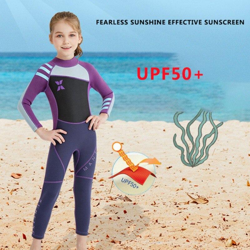 Traje de buceo de una pieza para niños de 2,5mm, traje de neopreno térmico para niños, traje de baño para nadar y surfear