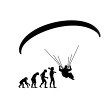 15.9*13.2 cm Fashion Human Evolution Paragliding Auto Stickers Cartoon Motorfiets Vinyl Decals auto styling C7-0701