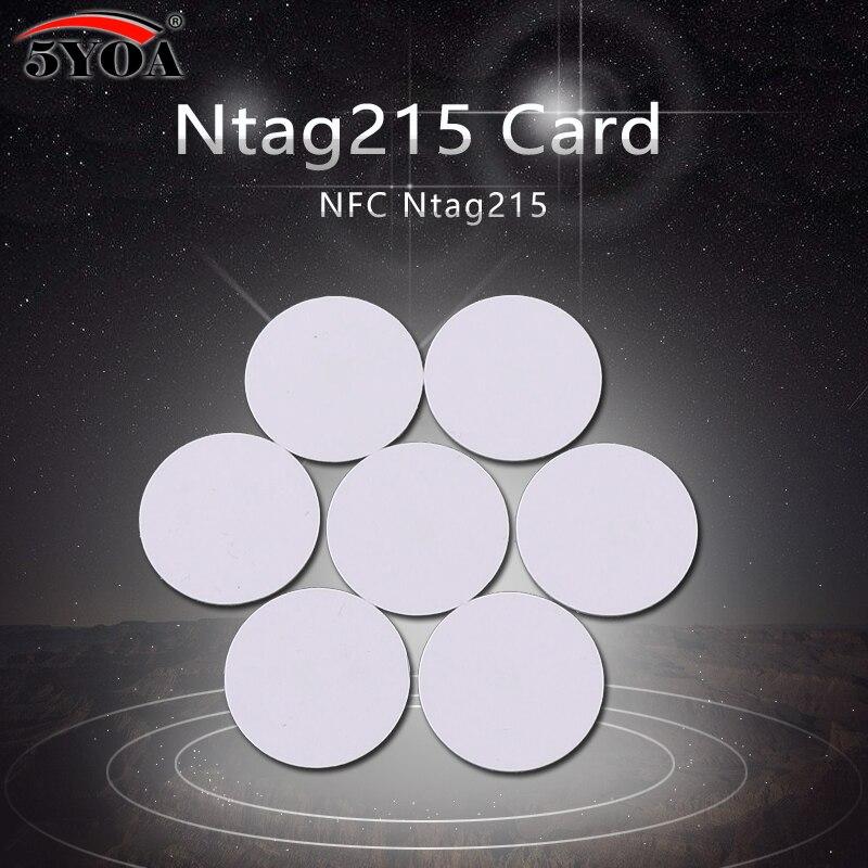 100 unids/lote NFC215 etiqueta NFC clave identificador de etiquetas patrulla etiqueta RFID Mini NFC tarjeta de teléfono interruptor 215 Chip de anillo inteligente
