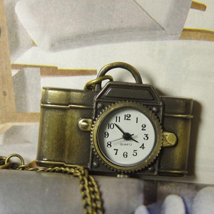 Vintage fob offre spéciale hommes femmes quartz Antique montre de poche collier bronze pendentif caméra horloge 1 pcs/lot métal jouet cadeau