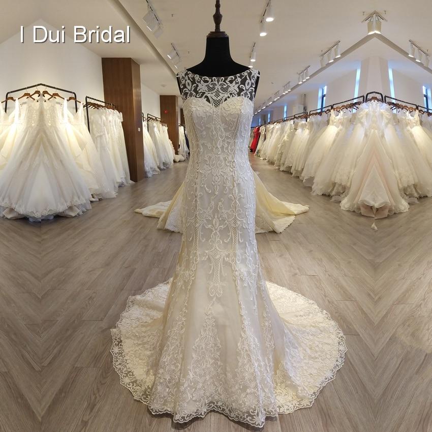 فريد الدانتيل غمد فستان الزفاف جودة عالية أكمام ثقب المفتاح الخلفي فستان زفاف