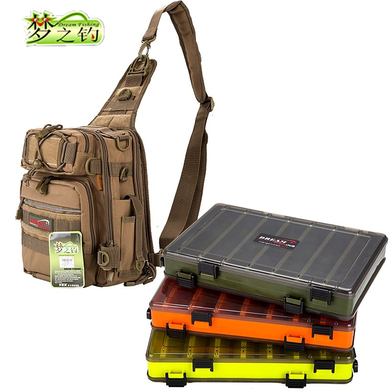 Dream Fishing Multifunctional Fishing Bag 14*24*29cm Large Capacity Nylon Fishing Tackle Bag Double/Single Side Fishing Box