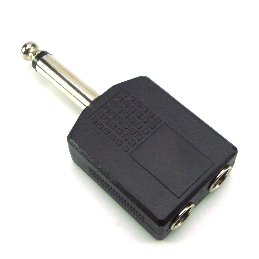 "1/4"" Stereo Audio Jack Plug Adapter Single Male to Female 6.35mm Dual Mono Stereo Jack Headphone Microphone Y Splitter Converter"