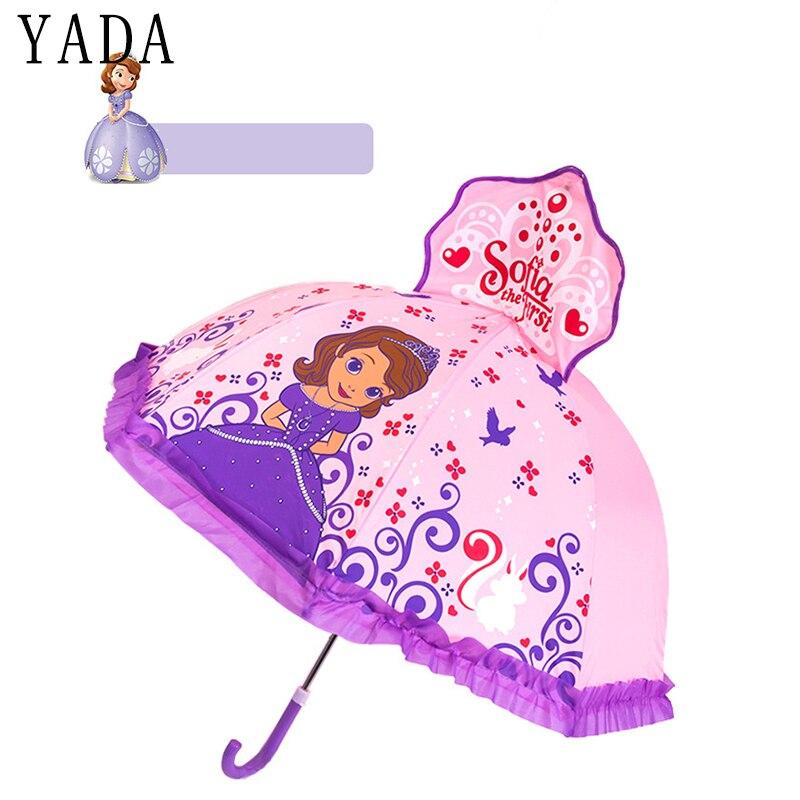 YADA 2-6 años de edad diseño de dibujos animados impresión 3D sombrilla de encaje princesa sol lluvioso lindo mango largo niño niña niños paraguas de herramientas YD048