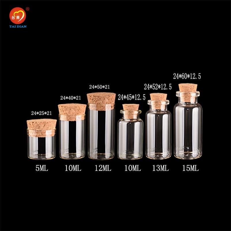 Flacon de bocaux en verre vide 5ml 10ml 15ml   Mini bouteille en verre avec bouchons, flacon pour bouteilles cadeaux artisanat cadeau de mariage,