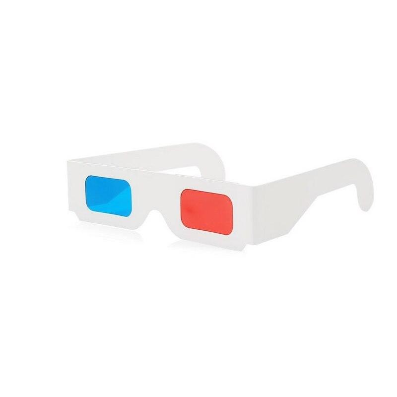 100 pares de papel Universal Anaglyph 3D gafas de papel 3D vista Anaglyph rojo cian rojo/azul 3D vidrio para película EF