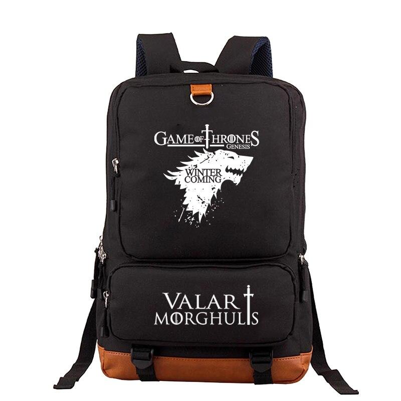 Mochila contra fuego y hielo Juego de tronos para adolescentes, bolsas de lona para estudiantes y hombres, bolsas de viaje de gran capacidad