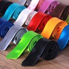 2019 Tie Necktie New Mens Slim Skinny choker Plain Satin business man,multi-color Fashion style pure color for boyfriend gift