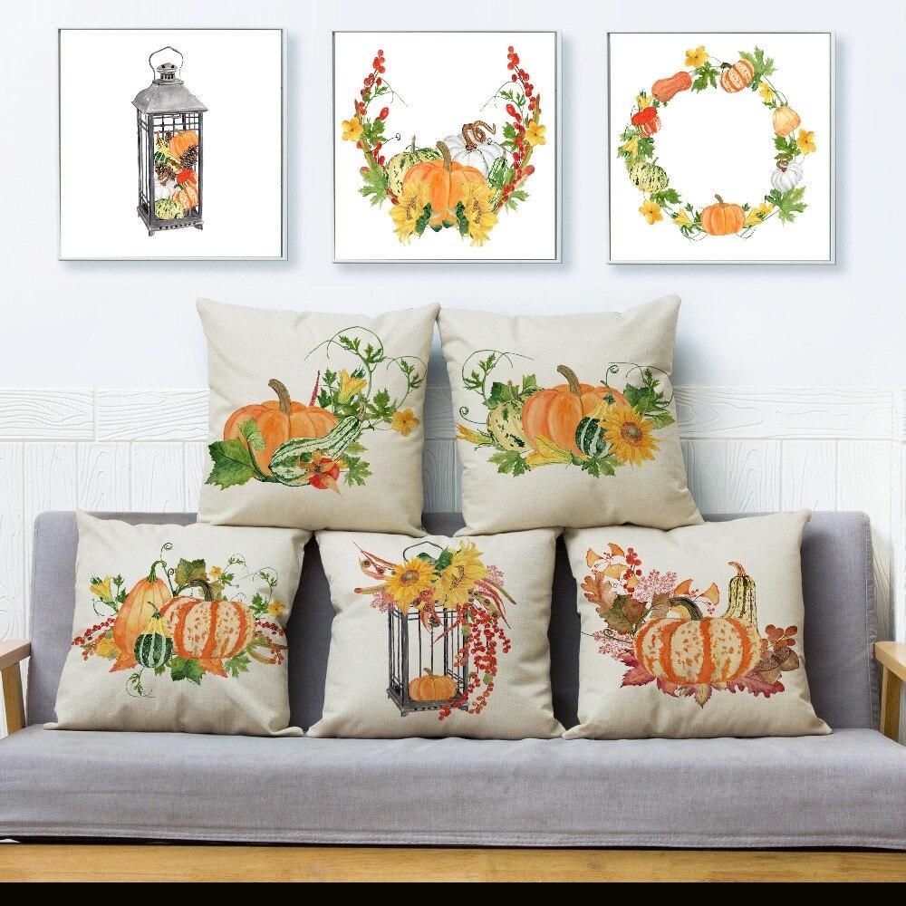 Acuarela otoño calabaza cubierta de cojín estampada funda de almohada de lino Beige 45*45cm almohadas cuadradas fundas funda de cojín de decoración para hogar