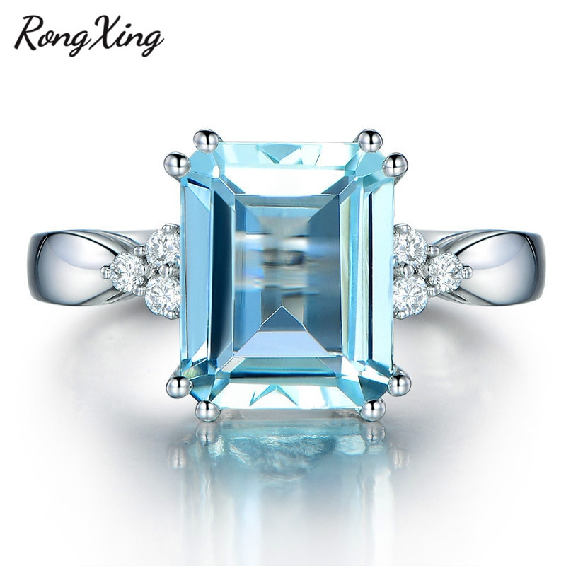 RongXing Encantadora Praça Pedra Azul Claro Zircon Anéis Para As Mulheres Ouro Branco Cheio De Março Birthstone Jóias de Casamento Presentes Do Amante