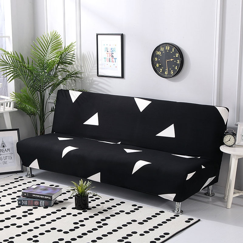 Funda de sofá cama funda de sofá elástica funda de sofá sin reposabrazos funda plegable para sofá cama 160-190cm 1 ud.