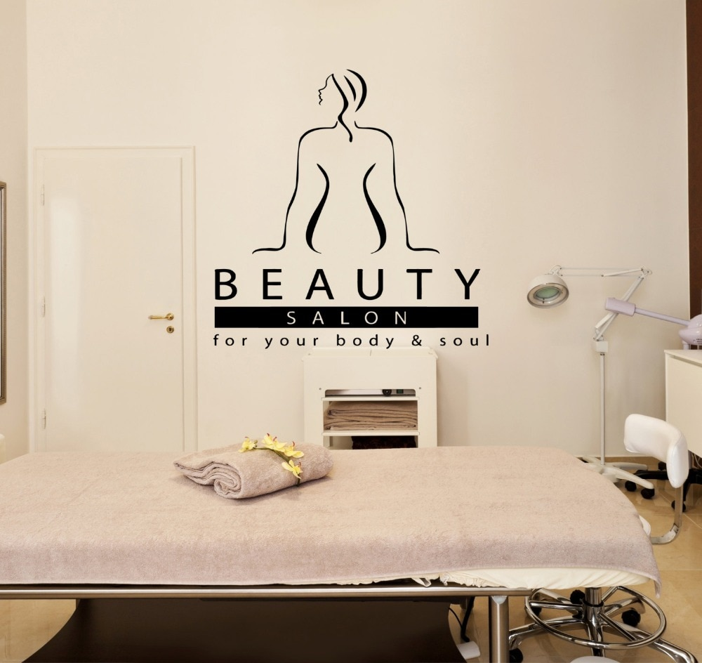 Calcomanía de la pared del salón de belleza de la mujer del Spa del masajista cita el salón de belleza para su cuerpo y alma calcomanía de la pared terapia Relax DIYSYY574