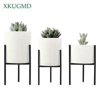 nordic style fleshy plants flowerpot wrought iron vase simple iron frame flower ceramic water pot green planter home decoration