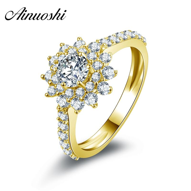 AINUOSHI 14K Solid White/Yellow Gold Sunflower Ring Round Cut Sona Diamond Pave Setting Band Women Wedding Engagement Halo Rings