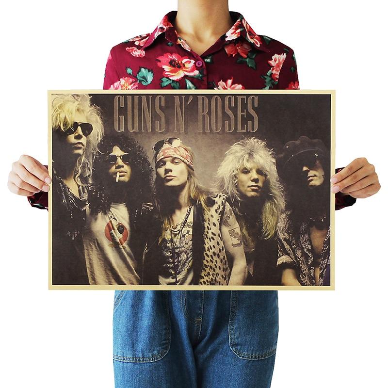 Cartel nostálgico Rock Band Guns N Roses papel Kraft café póster para Bar Retro cartel de pintura decorativa 51x36cm pegatina de pared