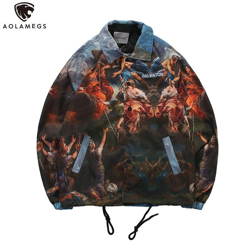 Aolamegs vestes homme, Streetwear surdimensionné, à la mode, avec cordon, peinture de veste de pull imprimée,