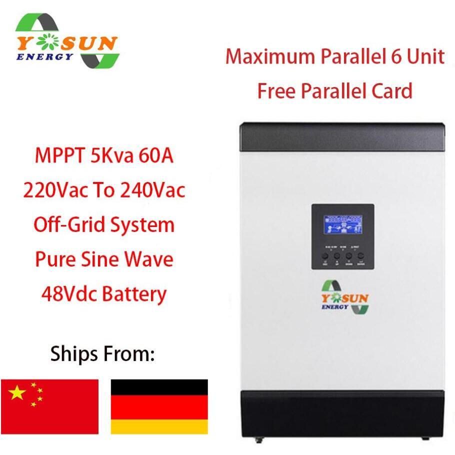 60A MPPT الشمسية العاكس 4000 واط خارج الشبكة العاكس 5Kva 48Vdc 220Vac الهجين العاكس نقية شرط لموجة العاكس 60A شاحن بطارية