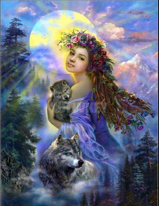 Mosaico pintura naturaleza diamante bordado Ángel/animal/Lobo diy diamante pintura completo taladro cuadrado diamantes decoración arte