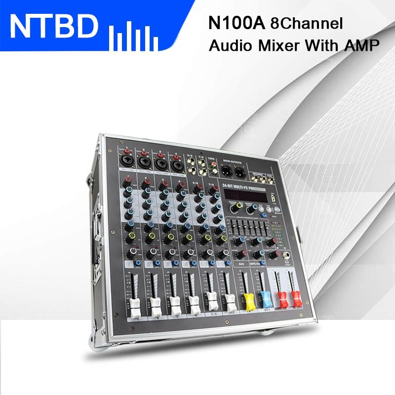 NTBD-جهاز مزج صوت محمول ، وحدة تحكم مع مضخم طاقة مدمج ، 8 قنوات ، 16 نوعًا من أجهزة ECHO الرقمية للحفلات DJ