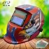 Vermelho azul águia auto escurecimento capacete de soldagem máscara de soldador moagem com protetores de vidro solar e energia da bateria HD10 (2233FF) w