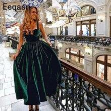 Vintage Thee Lengte Cocktail Jurk Elegant Sweetheart Groen Fluwelen Dames Formele Party Gown Homecoming Jurken