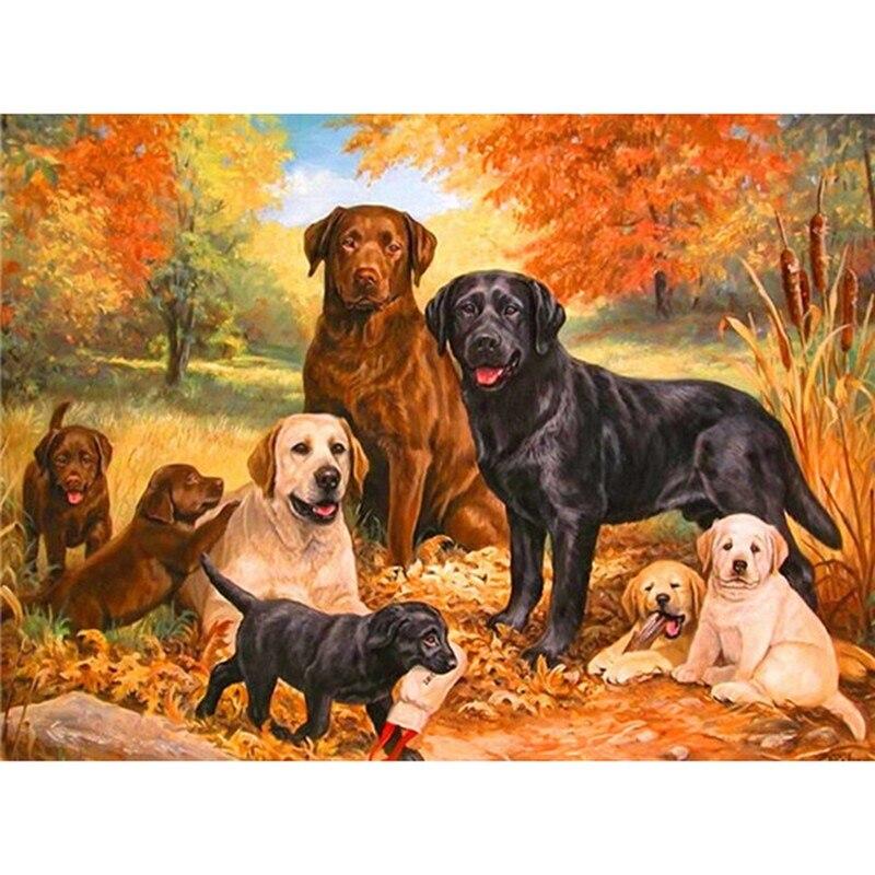 Animales DIYdiamond pintura diamante bordado punto de cruz diamante cuadrado mosaico animales perros imágenes bordado ZS284