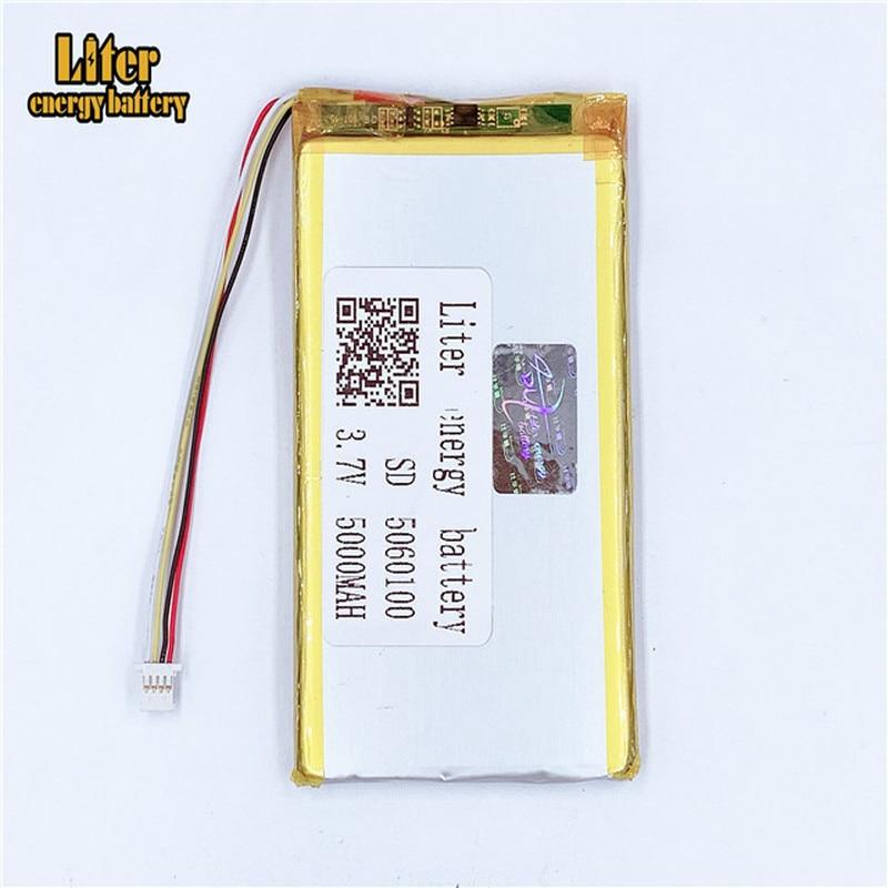 Plugue 1.0-4 p 5060100 3.7 v 5000 mah tablet pc 7 polegada mp4 mp5 recarregável li-polímero bateria li-po