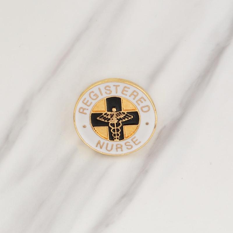 Enfermera registrado Broche de esmalte blanco para uso médico, broche con hebilla para bolsa, insignia para enfermera, estudiante médico, regalo de graduación, joyería