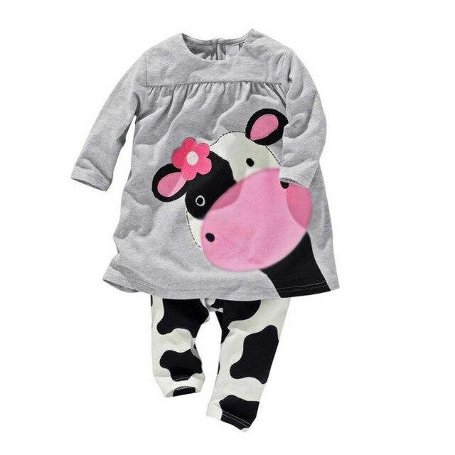 秋冬女の赤ちゃん服セット O ネック乳牛プリント長袖シャツ牛子供服トップス女の子スーツ