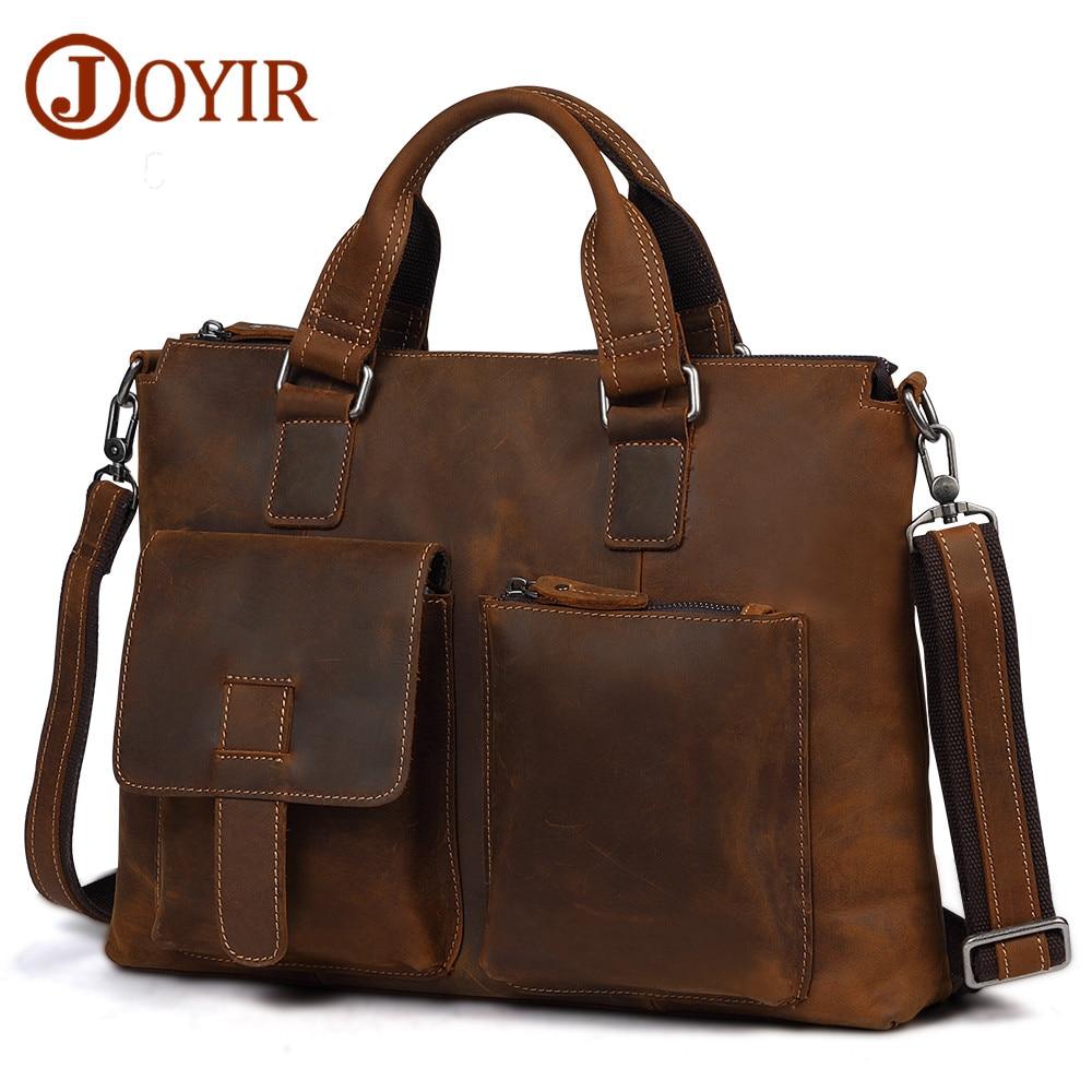 "JOYIR Men's Leather Briefcases Men Business Crazy Horse Genuine Leather Crosboby Shoulder Bag 15""Laptop Bag Handbag For Male New"
