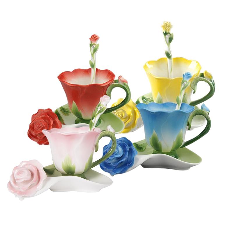 Mejor 3D forma de rosa flor esmalte de café de cerámica Taza de té y platillo cuchara alta calidad taza de porcelana creativo de San Valentín diseño de regalo