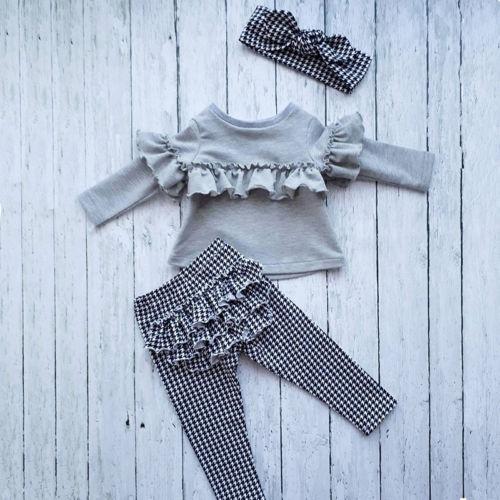 Vêtements à volants pour petites filles   Ensemble de vêtements pour petites filles, hauts à manches longues + pantalons à carreaux + bandeau, tenues de 3 pièces
