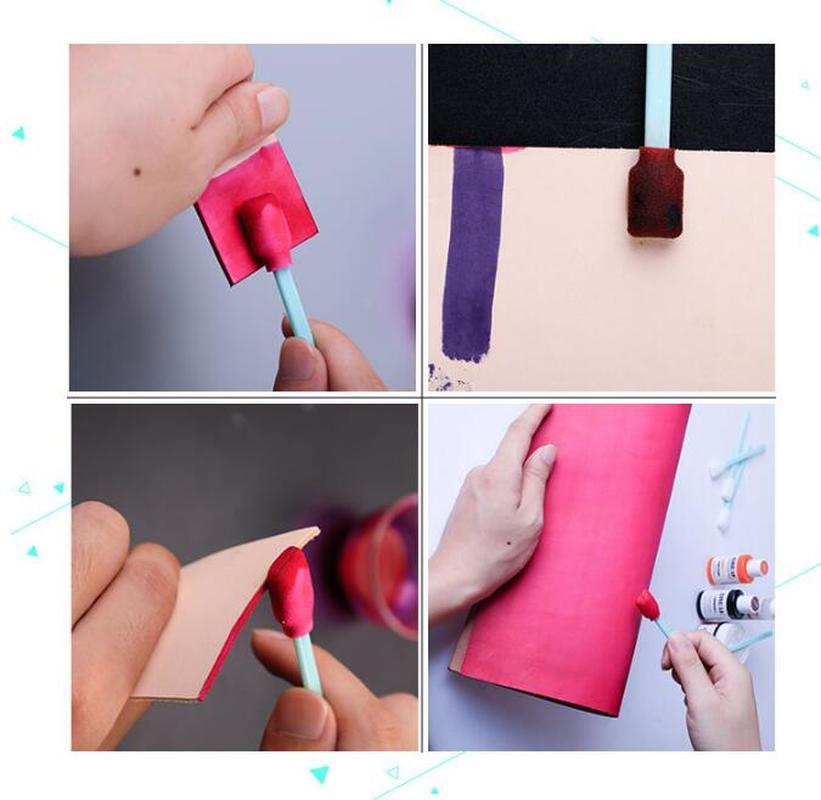 100pcs Dust Free Cotton Swab Edge Oil Painting Brush DIY Leather Craft Tools Edge Treatment Roller Smear Sealing Oil Brush