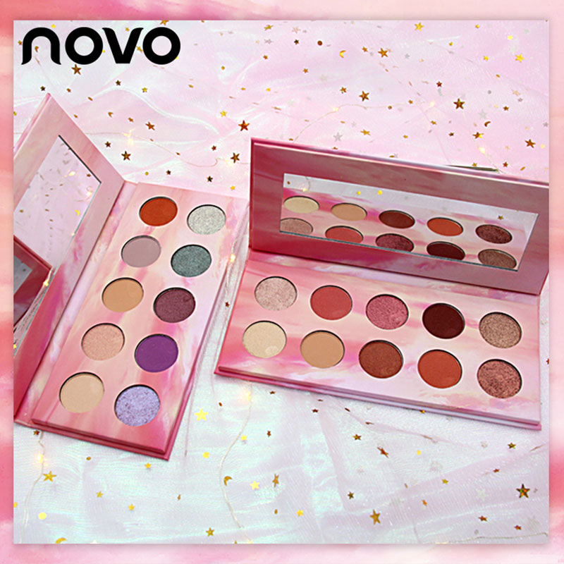 NOVO 10 colores Nude brillo mate sombra de ojos paleta brillante atardecer pigmentado sedoso sombra de ojos Nude Maquillaje sombra de ojos