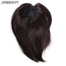 JOY & BEAUTY-pinzas de pelo sintético para hombre y mujer, postizos de 10 pulgadas, pelo liso, flequillo, cierres superiores, horquillas