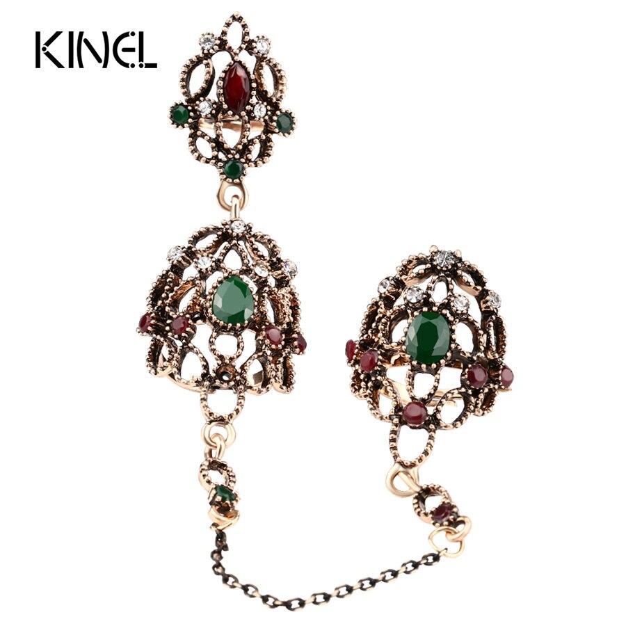 Nueva joyería India aspecto vintage Color anillo de oro hueco hecho llegada ajustable anillo para dos dedos para las mujeres de regalo