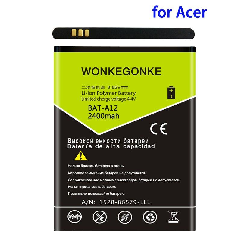 WONKEGONKE 2400 мАч BAT-A12 для acer liquid Z520 батарея Liquid Z520 Dual SIM (P/N BAT-A12 (1ICP4/51/65) батареи