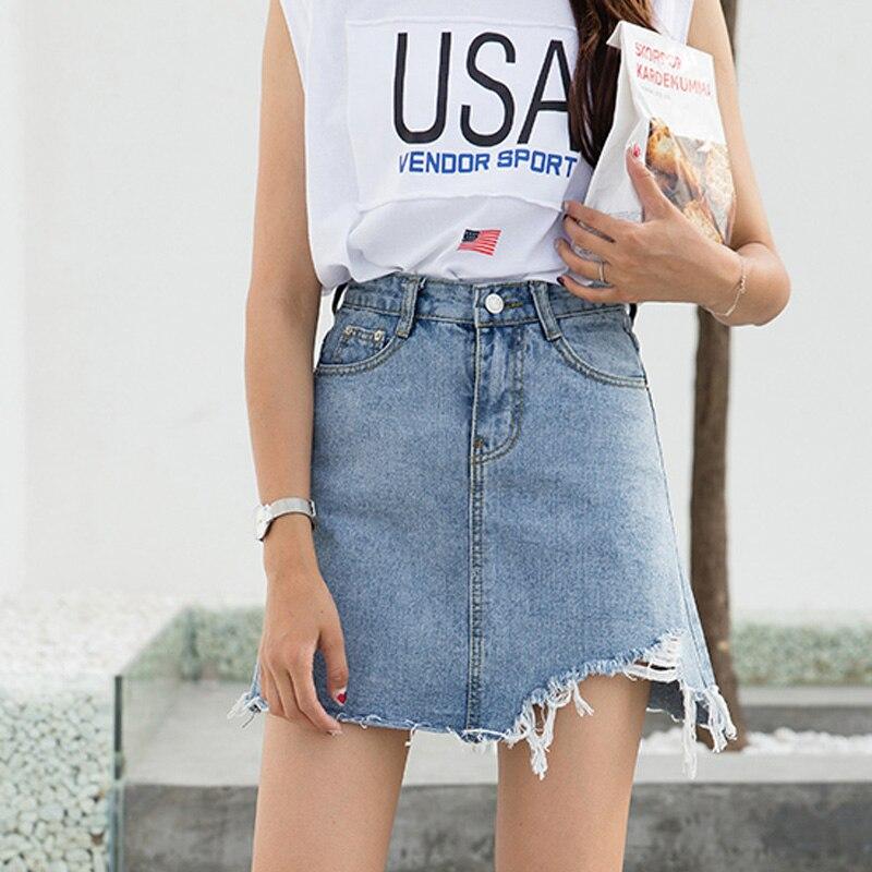 Denim Skirt for Women 2019 Summer High Waist Slim Pencil Skirts Tassels Faldas Largas Short Saia Mini Hot Jeans Skirts