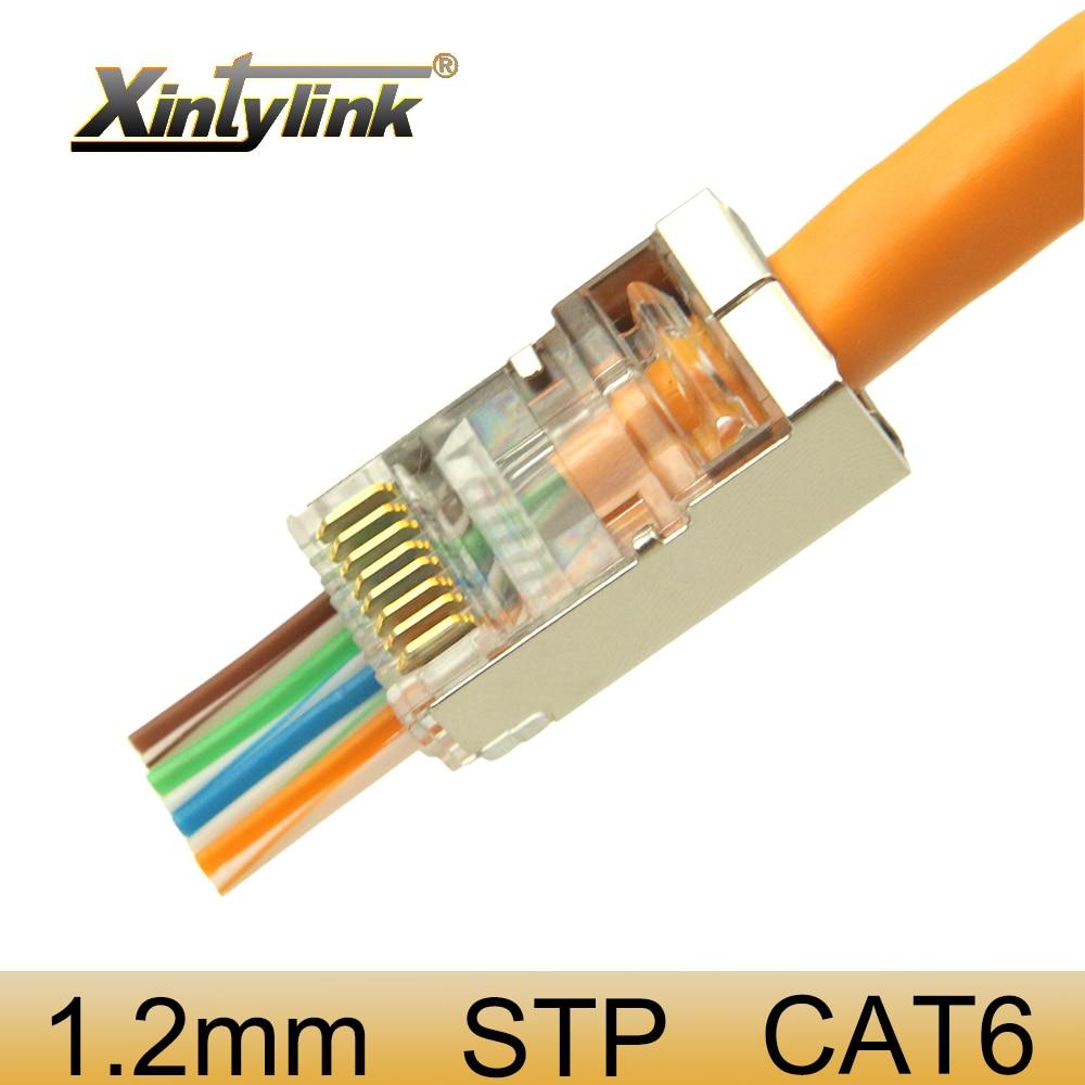 Xintylink 1,2 мм rj45 разъем cat6 сетевой разъем 8p8c stp rg rj 45 jack экранированный rg45 lan cat 6 ethernet кабель conector модульный