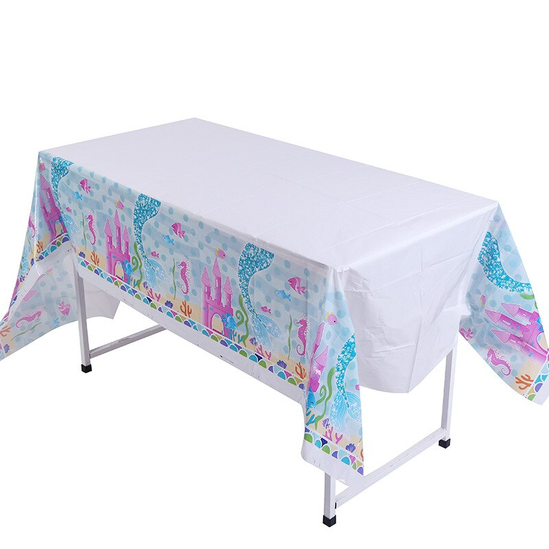 Manteles desechables de Sirenita de 132cm * 220cm decoración de fiesta de cumpleaños cubierta de mesa bajo el mar suministros para fiestas temáticas