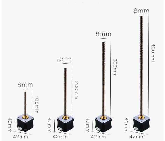 100-400mm 8MM T-Bola de tornillo T8 * 2 lineal guía de movimiento para mesa móvil de carril de deslizamiento + 42*40 Nema 17 Motor paso a paso para 3D impresora