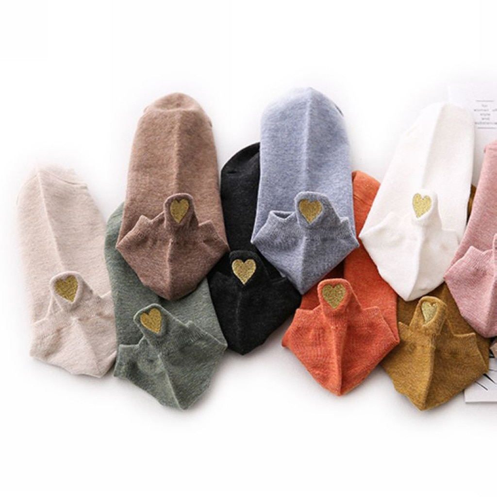 CHAMSGEND Summer socks female boat socks love socks non-slip shallow mouth solid color socks soft breathable